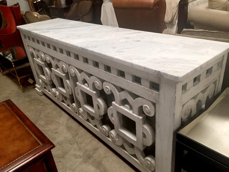 Marble and wood chest