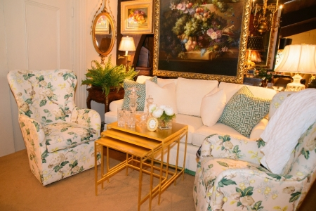Cream and Green Floral Chairs and Sofa